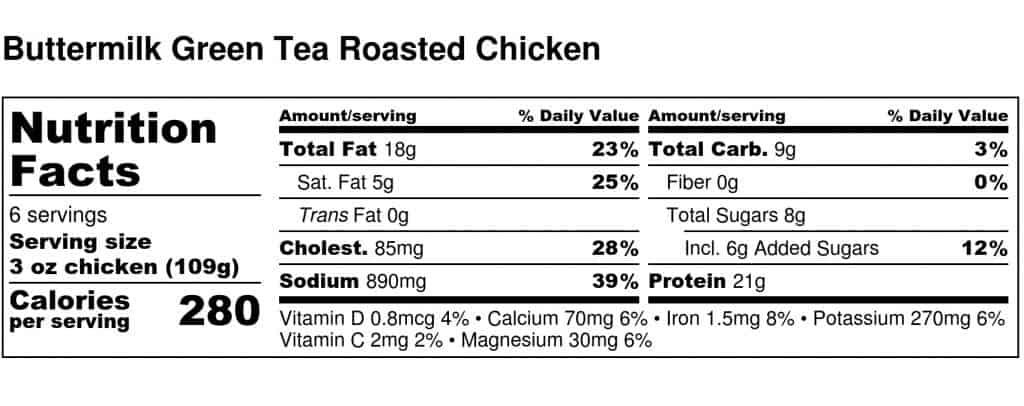 Buttermilk Green Tea Roasted Chicken - Nutrition Label